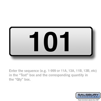 Salsbury 3567 Custom Engraved Self Adhesive Placard For Vertical Mailboxes