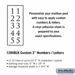 Custom Numbers / Letters Vertical Black Vinyl 3 Inches High