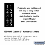 Custom Numbers / Letters Vertical White Vinyl 3 Inches High