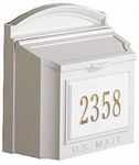 Whitehall Custom Wall Mount Mailbox with Removable Locking Insert - White