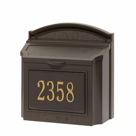 Whitehall Custom Wall Mount Mailbox with Removable Locking Insert - Bronze