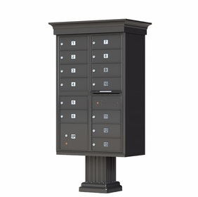 Decorative Cluster Box Unit With 13 Compartments in Dark Bronze - Includes Crown Cap and Pillar Pedestal Accessories