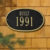"Whitehall Date Plaque - Standard Wall - ""Built"" One Line - Black"