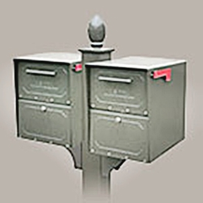 Double Locking Curbside Decorative In-Ground Post System with newspaper receptacles (Mailboxes purchased Separately)