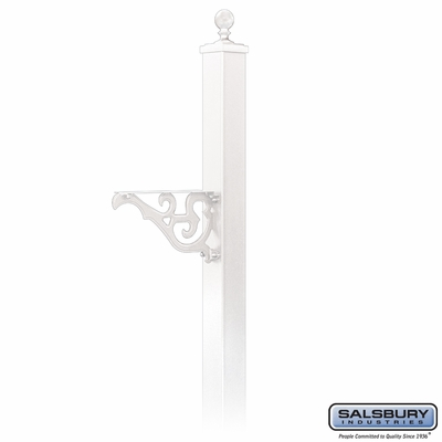 Salsbury 4845WHT Decorative Mailbox Post Victorian In Ground Mounted White