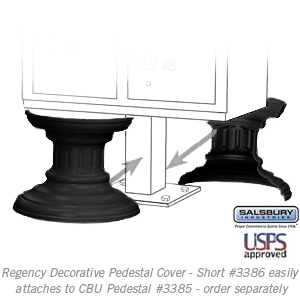 Salsbury 3386BLK Decorative Pedestal Cover-Short - Black