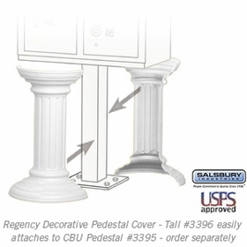Salsbury 3396WHT Decorative Pedestal Cover-Tall - White
