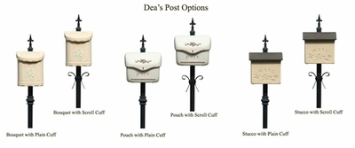 Decorative Steel Mounting Post w/Plain Cuff