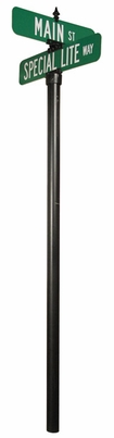 Vista Series 3inch O/D Smooth Breakaway Pole with Double Top Mounting Sign Bracket and Finial