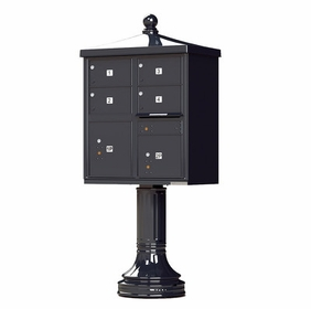 Decorative Traditional 4 Door CBU Mailboxes with Extra Large Tenant Doors Black