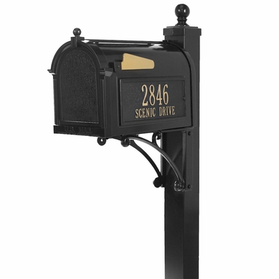 Whitehall Deluxe Black Mailbox Package