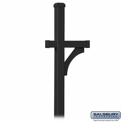 Salsbury 4870BLK Deluxe Mailbox Post 1 Sided In Ground Mounted Black