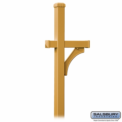 Salsbury 4870BRS Deluxe Mailbox Post 1 Sided In Ground Mounted Brass Finish