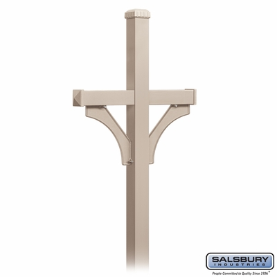 Salsbury 4872BGE Deluxe Mailbox Post 2 Sided For (2) Mailboxes In Ground Mounted Beige