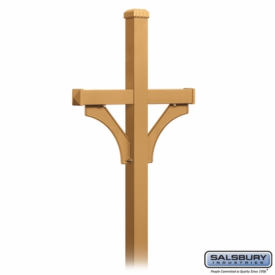 Salsbury 4872BRS Deluxe Mailbox Post 2 Sided For (2) Mailboxes In Ground Mounted Brass Finish