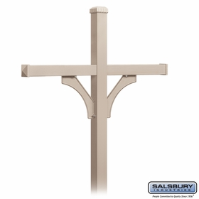 Salsbury 4874BGE Deluxe Mailbox Post 2 Sided For (4) Mailboxes In Ground Mounted Beige Finish
