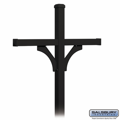 Salsbury 4874BLK Deluxe Mailbox Post 2 Sided For (4) Mailboxes In Ground Mounted Black Finish