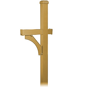 Salsbury 4370D-BRS Deluxe In-Ground Post For Designer Roadside Mailbox Brass Finish