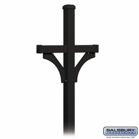 Salsbury 4372BLK Deluxe Post 2 Sided In Ground Mounted For Roadside Mailbox Black
