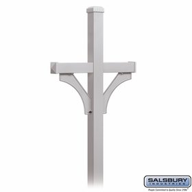 Salsbury 4372SLV Deluxe Post 2 Sided In Ground Mounted For Roadside Mailbox Silver