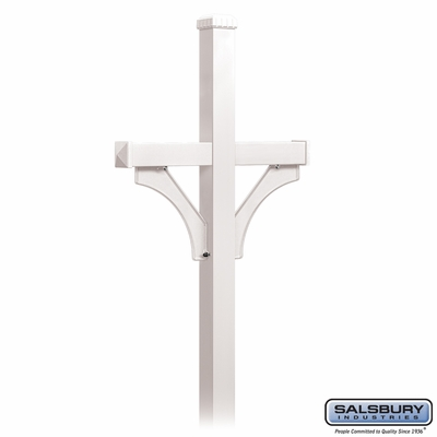 Salsbury 4372WHT Deluxe Post 2 Sided In Ground Mounted For Roadside Mailbox White
