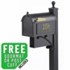 Whitehall Deluxe Westwood Curbside Mailbox Package with Newspaper in Black