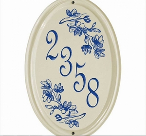 Whitehall Dogwood Ceramic Oval - Vertical One Line Standard Wall Plaque - Dark Blue