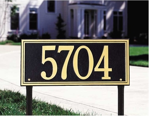 Double Line Estate Lawn Address Sign - One Line