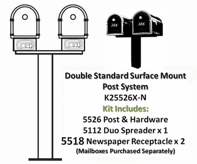 Double Standard Surface Mount Post System with Newspaper Receptacles (Mailboxes Purchased Separately)