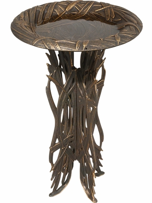Whitehall Dragonfly Birdbath and Pedestal - Oil Rub Bronze