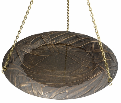 Whitehall Dragonfly Hanging Birdbath - Oil Rub Bronze