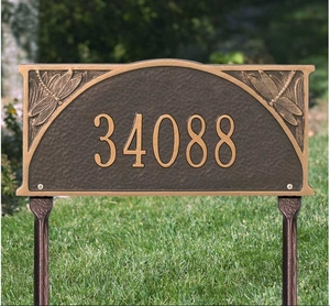 Whitehall Dragonfly Standard Lawn Address Sign - One Line