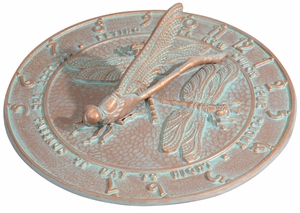 Whitehall Dragonfly Sundial - Copper Verdi