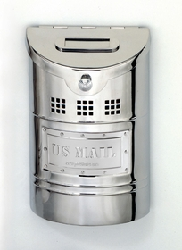 E1M Wall Mounted Polished Stainless Steel Modern Mailbox with Stainless Steel Mail Plate (smaller than E2M)