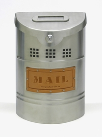 E1X Wall Mounted Brushed Stainless Steel Modern Mailbox with Leather Mail Plate (smaller than E2X)