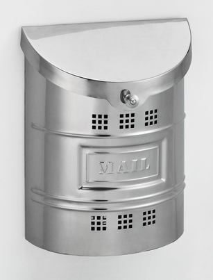 E2M Wall Mounted Polished Stainless Steel Modern Mailbox with Stainless Steel Mail Plate