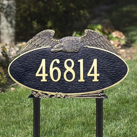 Whitehall Eagle Oval - One Line - Estate Lawn Address Sign