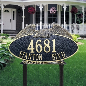 Whitehall Eagle Oval - Two Line - Estate Lawn Address Sign