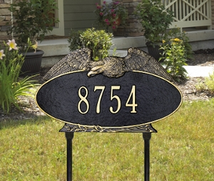 Whitehall Eagle Oval - One Line - Standard Lawn Address Sign