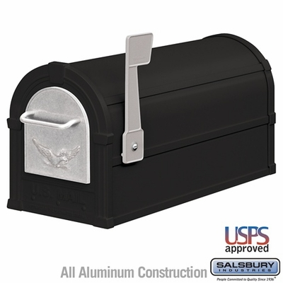 Salsbury 4855E-BLS Eagle Rural Mailbox Black Silver Eagle