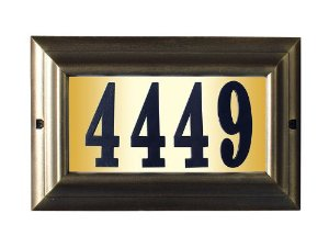 """Edgewood Large """"Do it yourself kit"""" Lighted Address Plaque in French Bronze Frame Color"""