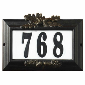 "Edgewood ""Misty Oak"" Lighted Address Plaque in Black with Gold Antiquing Frame Color"