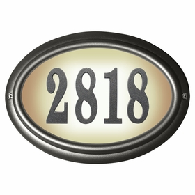 Edgewood Oval Lighted Address Plaque in Pewter Frame Color