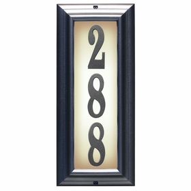 Edgewood Vertical Lighted Address Plaque in Pewter Frame Color