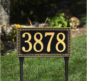 Egg and Dart Standard Lawn Address Sign - One Line