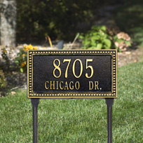Egg and Dart Standard Lawn Address Sign - Two Line