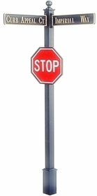 "Estate Square Post Street Sign with Cast Blades and 30"" Stop Sign"