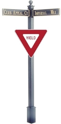 "Estate Square Post Street Sign with Cast Blades and 30"" Yield Sign"