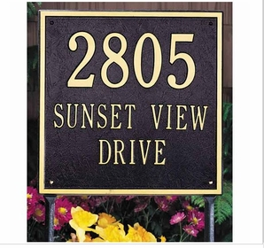 Whitehall Estate Size SQUARE Wall or Lawn Plaque - (1, 2, or 3 lines)