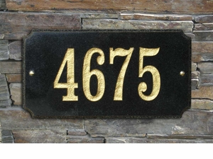 "Executive ""Cut Corner"" Rectangle Solid Granite Address Plaque with Engraved Text - Black Polished Stone Color"